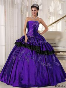 Purple Taffeta Strapless Sweet 16 Dresses with Appliques and Tiers