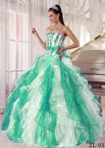 Lovely Ruffled Strapless Multi-colored Dresses for 15 with Ribbon