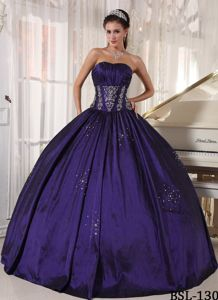 Strapless Eggplant Beading Appliqued Dresses Quince with Pleats