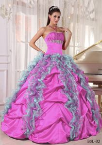 Ruffled Beading Colorful Quinceanera Dresses with Pick-ups