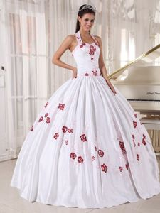 Pleated Halter White Quince Dress with Red Appliques Custom Made