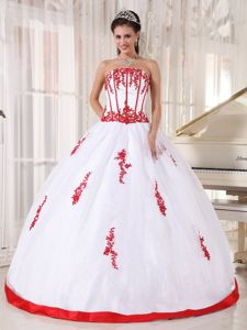 White Strapless Dresses Quinceanera with Red Hem and Appliques