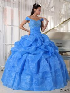 off Shoulders Azure Sweet Sixteen Dresses with Pick-ups and Tiers