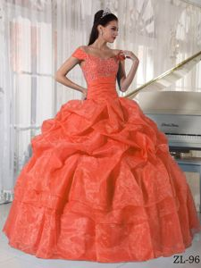 Appliqued off Shoulders Orange Red Dress for Quince with Pick-ups
