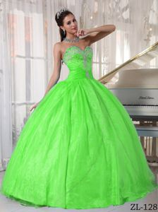 Ruched Spring Green Sweetheart Dress for Sweet 16 Custom Made