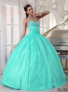 Lovely Appliqued Mint Colored Sweet Sixteen Dresses with Ruches