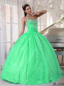 Sexy Sweetheart Spring Green Dress for Quince with Appliques