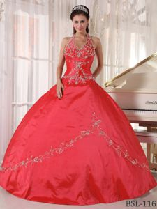 Popular Halter Appliqued Red Quinceanera Dresses with Ruches