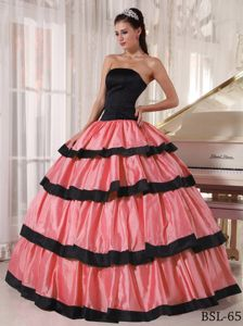 Multi-tiered Watermelon and Black Sweet Sixteen Dress with Pleats