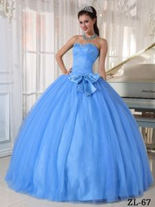 Strapless Pleated Light Blue Quinces Dresses with Bowknot Front