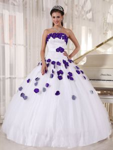 White Strapless Quinceanera Dresses with Purple 3D Flowers