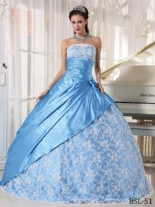 Elegant Aqua Blue Lace Decorate Quinces Dresses with Ruches