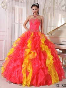 Chic Colorful Ruffled Sweet Sixteen Dresses with Beads Decorate