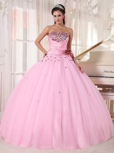 Pleated Baby Pink Ruched Quinces Dresses with Hand Made Flower