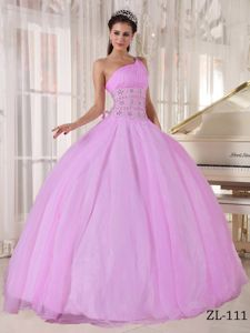 Lovely One Shoulder Pink Dress for Quince with Beading Waist