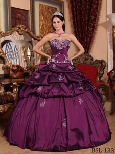 Appliqued Pleated Dress Quince with Pick-ups and Ruches