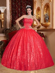 Beautiful Strapless Red Beading Appliqued Sweet 16 Dresses