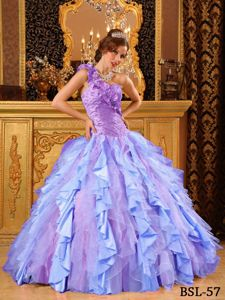 One Shoulder Colorful Beading Ruffled Quinceanera Dresses