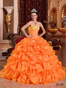 Eye-catching Orange Appliqued Dress for Sweet 16 with Ruffles