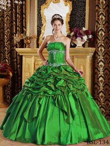 Taffeta Appliqued Green Strapless Quince Dresses with Pick-ups
