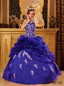 Appliqued Blue Sweet Sixteen Quinceanera Dresses with Pick ups