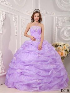 Appliques and Pick ups Sweet Sixteen Quinceanera Dress in Lavender