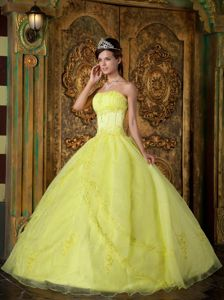 Appliqued Organza Sweet Sixteen Quinceanera Dress in Bright Yellow
