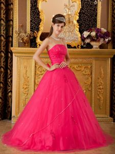 Beaded Strapless Organza Lace Up Sweet Sixteen Dress