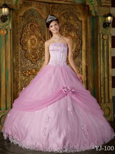 Rose Pink Strapless Appliqued and Flowery Sweet Sixteen Dresses