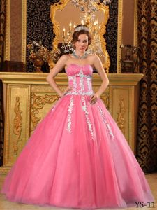 Appliqued Watermelon Sweetheart Sweet Sixteen Dresses with Beading