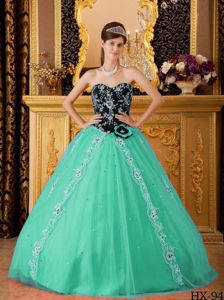 Appliqued Black and Turquoise Sweet 15 Dresses with Sweetheart