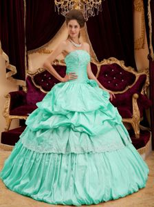 Mint Colored Strapless Sweet 15 Dress with Appliques and Pick ups