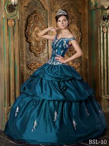 Teal Off Shoulder Taffeta Sweet 15 Dresses with Appliques Flowers