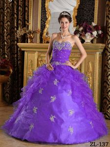 Appliqued and Ruched Lavender Sweet 15 Dresses with Ruffles