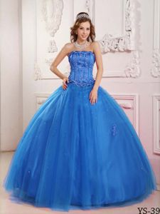 New Strapless Blue Tulle Quinceanera Dresses with Appliques