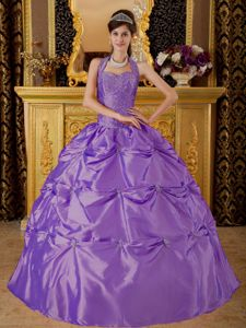 Lavender Halter Quinceanera Dresses with Pick ups and Appliques