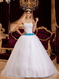 Blue Bowknots Accent White Strapless Quinceanera Gowns Dresses