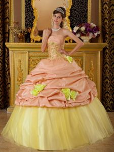 Peach and Yellow Strapless Dresses of 15 with Flowers Appliques