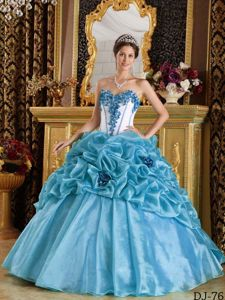 Appliques and Pick ups Accent Blue and White Dresses Quinceanera