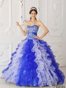 Zebra Print and Organza Ruffles White and Blue Dress Quinceanera