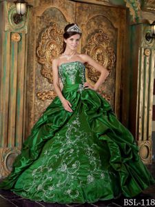 Beaded and Embroidered Hunter Green Dress 15 with Pick ups 2015