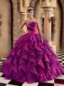 Appliques and Ruffles Accent Strapless Dress 15 in Multiple Colors