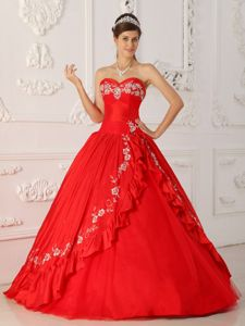 Taffeta and Organza Embroidered Dress for Quinceanera in Red 2013