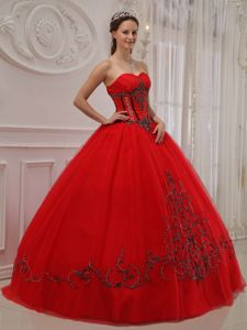 Red Tulle Ball Gown Dresses for A Quince with Black Embroidery