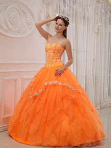 Appliqued and Ruffled Sweet Sixteen Quinceanera Dress in Orange