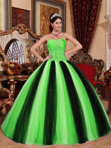 Spring Green and Black Tulle Sweet 15 Dresses with Beading 2013
