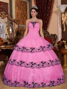 Black Appliques Accent Strapless Quinceanera Gown Dress in Rose Pink