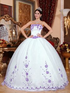 White Strapless Floor Length Quinceanera Gown with Purple Appliques