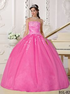 Appliqued Rose Pink Strapless Tulle Quinces Dresses Floor Length