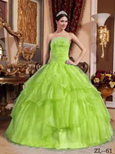 Ruched Yellow Green Strapless Sweet Sixteen Dresses with Tiers